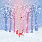 Fox - Snow - Trees - Cardinals by Cristina Bianco Design