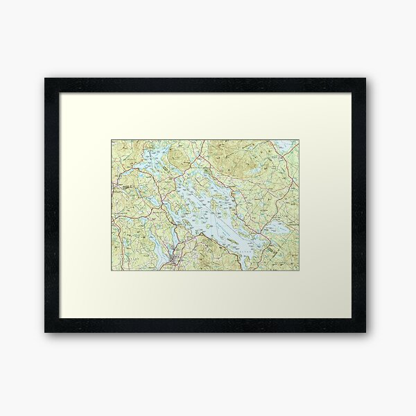 Lake Winnipesaukee Map (1986) Framed Art Print