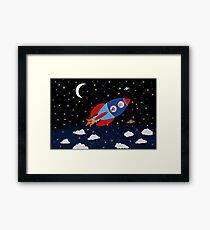 Space - Rocket - Cat - Dog Framed Print