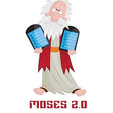 Moses and the Digital 10 Commandments Cartoon by cpuga
