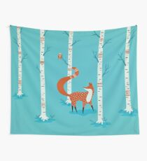 Fox - Owl - Birch Trees  Wall Tapestry
