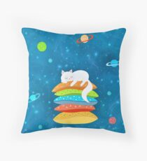 Sleeping Cat - Universe Throw Pillow