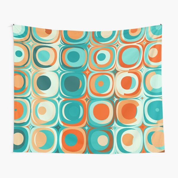 Turquoise and Orange Dots Tapestry