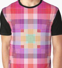 Bright Pink Modern Plaid Geometric Graphic T-Shirt