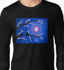 Cherry Blossom Tree - Cat - Moon T-Shirt