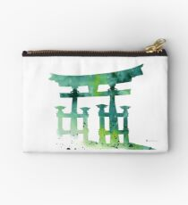 Torii gate silhiuettes watercolor art print painting Studio Pouch