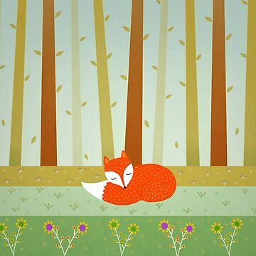 Cute Sleeping Fox by cristinadesign