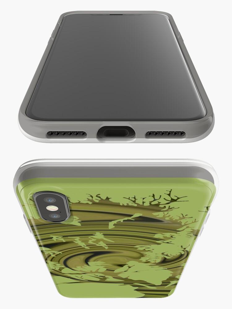 Vista alternativa de Funda y vinilo para iPhone Árbol de la vida- Remolinos esmeralda