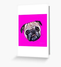 Butch the Pug - Pink Greeting Card