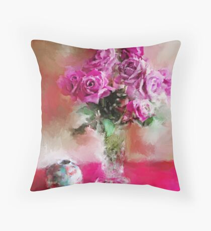 Charles de Gaulle Roses Throw Pillow