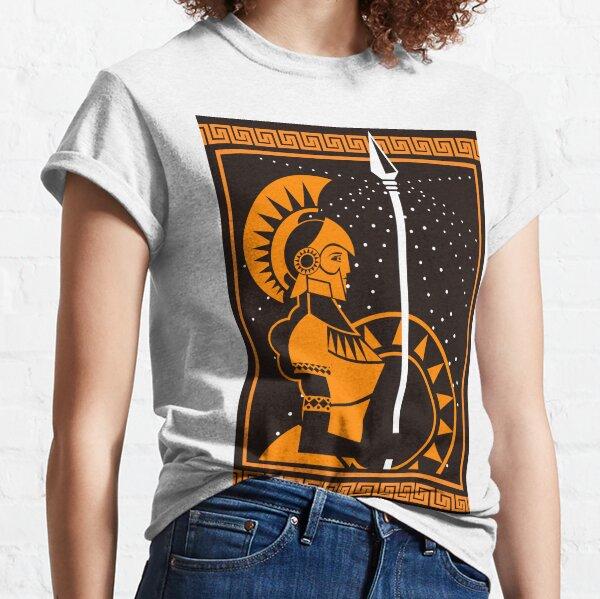 palas athena minerva greek roman mythology goddess orange and black old plate painting Classic T-Shirt