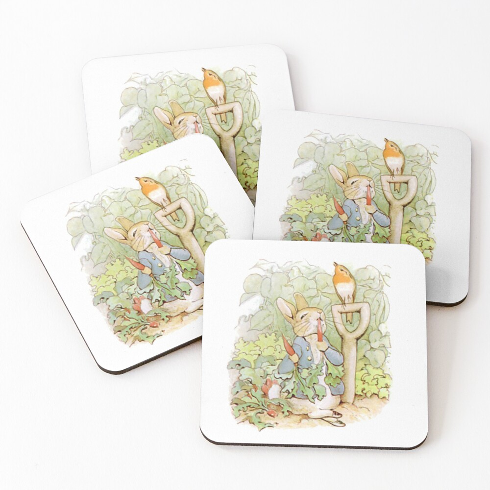 Peter Rabbit Steals Carrots Coasters (Set of 4)