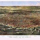1874 city of Saint Louis Missouri antique map by Glimmersmith