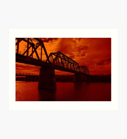 Burnt Orange Bridge Art Print