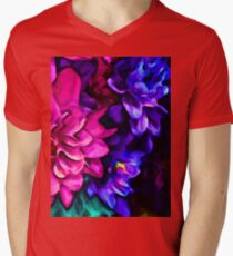 Pink Flower with Purple Flowers and some Blue T-Shirt