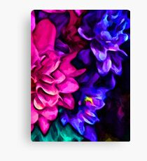 Pink Flower with Purple Flowers and some Blue Canvas Print