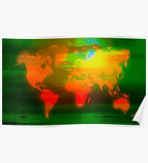 Green water world map Poster