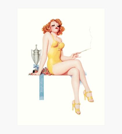 Tasty Pinups™ Vintage Red Head Smoking Hot Art Print