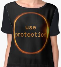 Use Protection - Solar Eclipse USA 2017 Women's Chiffon Top