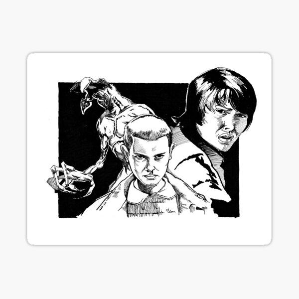 Eleven, Mike, and the Demogorgon Sticker