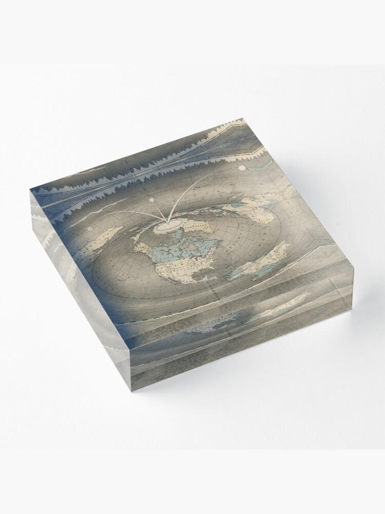 Alternate view of Flat Earth Map Acrylic Block