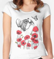 Pug in flowers Women's Fitted Scoop T-Shirt