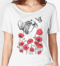 Pug in flowers Women's Relaxed Fit T-Shirt