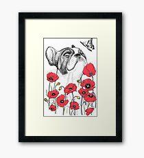 Pug in flowers Framed Print
