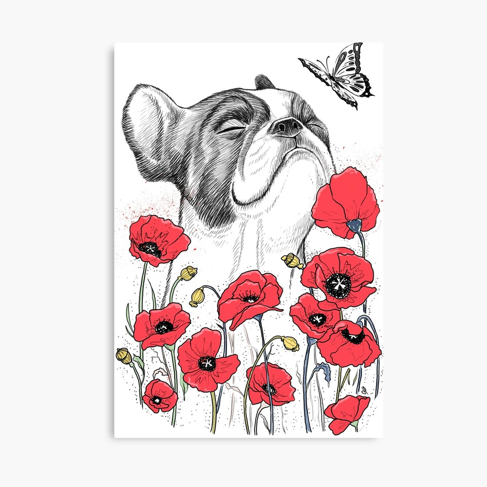Pug in flowers Canvas Print