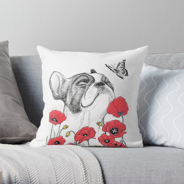 Pug in flowers Throw Pillow