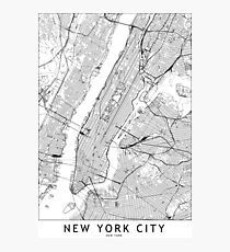 New York White Map Photographic Print