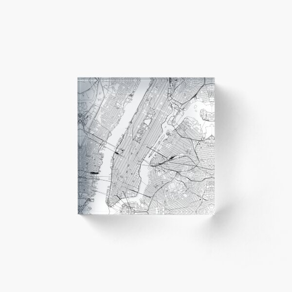 New York White Map Acrylic Block