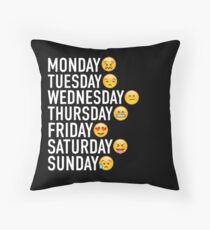 Moods of the Week Expressed Through Emojis Throw Pillow