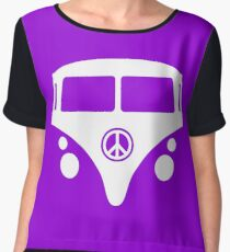 Hippie Camper Hippy Van Front Peace Sign Camping Graphic Women's Chiffon Top