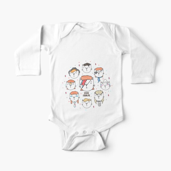 The 9 Lives of David Meowie Long Sleeve Baby One-Piece