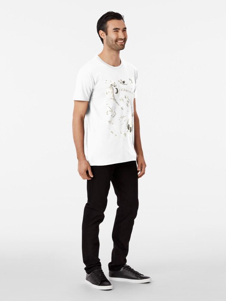Alternate view of black Skulls and Bones - Wunderkammer Premium T-Shirt