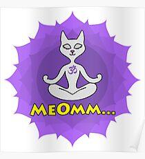 Meditating Cat, mandala and Meomm Sign for yoga Poster