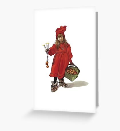 Iduna and the Magic Apples After Larrson Vector Greeting Card