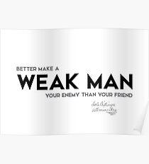 weak man enemy - josh billings Poster