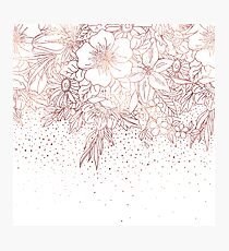 Rose gold hand drawn floral doodles and confetti design  Photographic Print