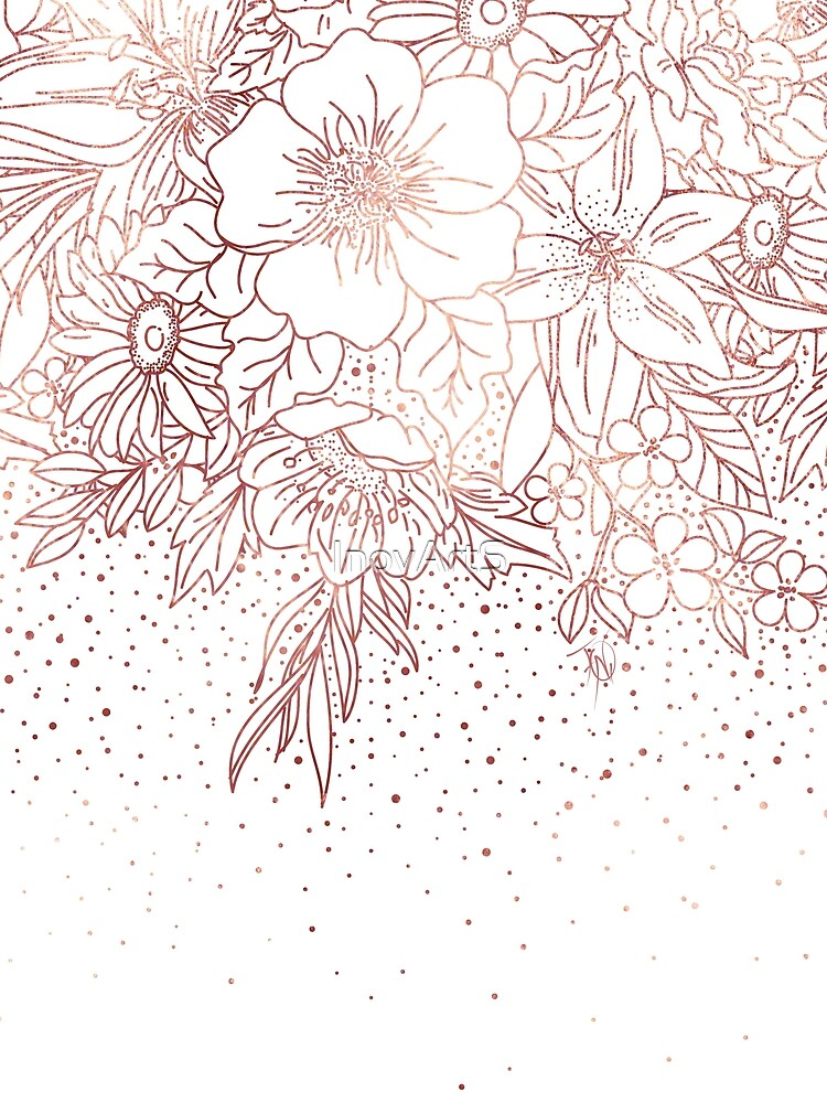 Rose gold hand drawn floral doodles and confetti design  by InovArtS