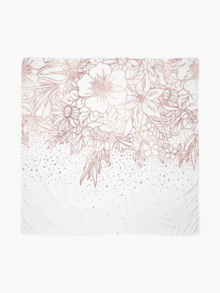 Alternate view of Rose gold hand drawn floral doodles and confetti design  Scarf