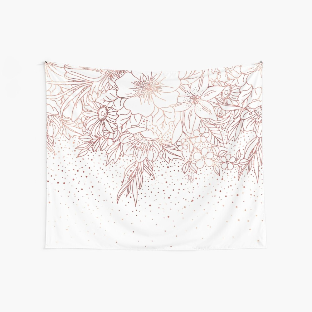 Rose gold hand drawn floral doodles and confetti design  Wall Tapestry