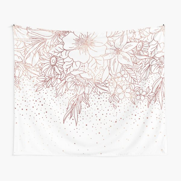 Rose gold hand drawn floral doodles and confetti design  Tapestry