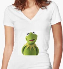Kermit The Frog Le MEME Women's Fitted V-Neck T-Shirt