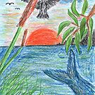 2207 - Bird, Fish, Tree, Reed and Sea before Sunset by tigerthilo