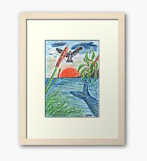 2207 - Bird, Fish, Tree, Reed and Sea before Sunset Framed Print