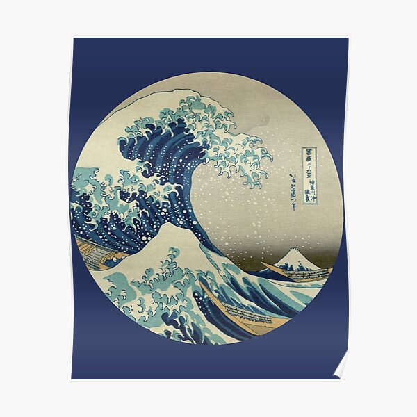 Gran ola del círculo de Kanagawa Póster