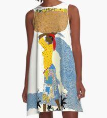 """HAITI"" Vintage Travel Advertising Print A-Line Dress"