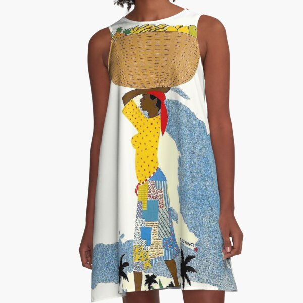 """HAITI"" Vintage Travel Advertising Print A-Line Dress"